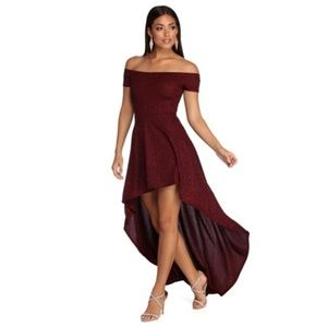 Red Penelope Glitter Formal High Low Dress